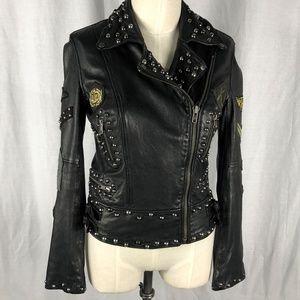 All Saints Harris Biker Jacket 12 Black Zippers